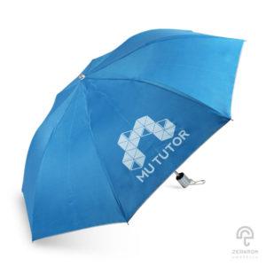 ร่มพรีเมี่ยม แบบพับ 2 ตอน สีฟ้า โลโก้ Mu Tutor ร่มพรีเมี่ยม แบบพับ 2 ตอน สีฟ้า โลโก้ Mu Tutor