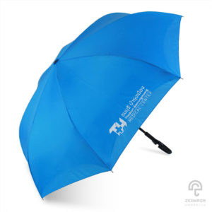 ร่มพรีเมี่ยม แบบกลับด้านทูโทน สีฟ้าเข้ม-อ่อน โลโก้ ธนบุรี บำรุงเมือง