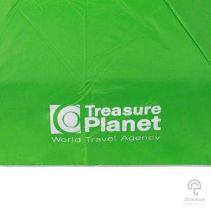 ร่มพรีเมี่ยม แบบพับ 5 ตอน สีเขียว 21 นิ้ว โลโก้ Treasure Planet