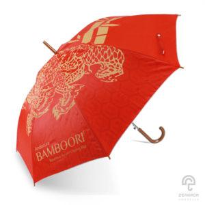 ร่มตอนเดียว สีแดง ลายสัตว์มงคลกิเลน 24 นิ้ว โลโก้ Andacura Bamboori Boutique Resort Chiang Mai