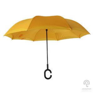 ร่มกลับด้าน สีเหลือง 24 นิ้ว (reverse umbrella)
