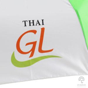 ร่มพับ 3 ตอน สีเขียว-ขาว 22 นิ้ว โลโก้ Thai GL