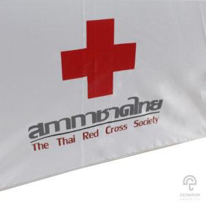 ร่มตอนเดียว สีแดง-ขาว 24 นิ้ว โลโก้สภากาชาดไทย(The Thai red cross sociaty)
