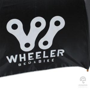 ร่มตอนเดียว สีดำ 24 นิ้ว โลโก้ Wheeler Bed&Bike