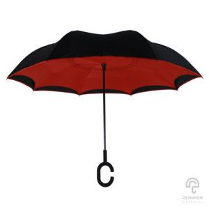 ร่มกลับด้าน สีดำ-แดง 24 นิ้ว (reverse umbrella)