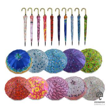 ร่มลายดอกไม้ ผ้าซาตินคละ 10 ลาย 22 นิ้ว(16 ก้าน)