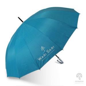ร่มตอนเดียว สีฟ้าอมเขียว 28 นิ้ว โลโก้ Wabisabi Hotel