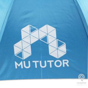ร่มพรีเมี่ยม แบบพับ 2 ตอน สีฟ้า โลโก้ Mu Tutor