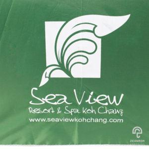 ร่มพรีเมี่ยม ตอนเดียว สีน้ำเงิน 24 นิ้ว โลโก้ Seaview Kohchang Resort&Spa