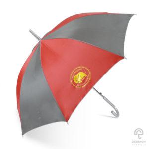 ร่มพรีเมี่ยม ตอนเดียว สีแดง-เทา 24 นิ้ว โลโก้ ห้างทองเยาวราชกรุงเทพ