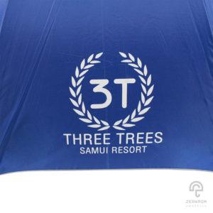 ร่มพรีเมี่ยม ตอนเดียว 30 นิ้ว สีน้ำเงิน โลโก้ Three tree Samui resort