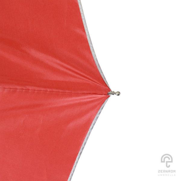 ร่มพรี่เมี่ยม แบบพับ 3 ตอน สีแดง โลโก้ HITACHI