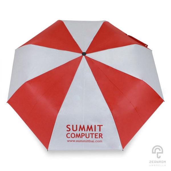 ร่มพรีเมี่ยม สีแดง-ขาว แบบพับ 3 ตอน 22 นิ้ว โลโก้ Summit computer