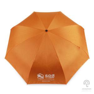 ร่มพรีเมี่ยม แบบกลับด้าน สีส้ม-ดำ โลโก้ ธนาคารอาคารสังเคราะห์(สาขาบ้านบึง)
