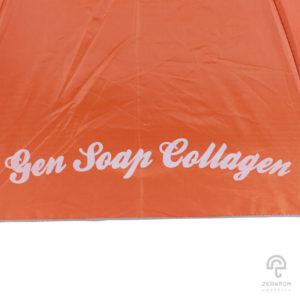 ร่มพรีเมี่ยม สีน้ำส้ม แบบพับ 2 ตอน 22 นิ้ว โลโก้ Gen Soap Collagen