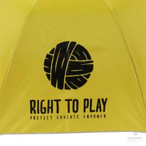 ร่มพับพรีเมี่ยม 2 ตอน สีเหลือง โลโก้ RIGHT TO PLAY