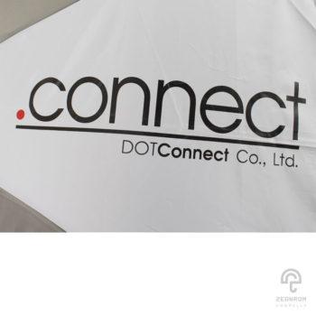 ร่มพรีเมี่ยม สีเทา-ขาว แบบพับ 3 ตอน 22 นิ้ว โลโก้ Dotconnect