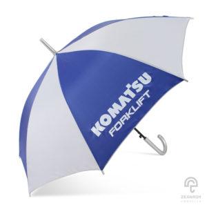 ร่มพรีเมี่ยม สีน้ำเงิน-ขาว ขนาด 24 นิ้ว โลโก้ KOMAT'SU