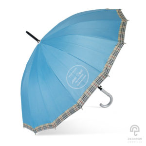ร่มพรีเมี่ยม (16 ก้าน) สีฟ้า โลโก้ แทนคำขอบคุณ AMM&BAS