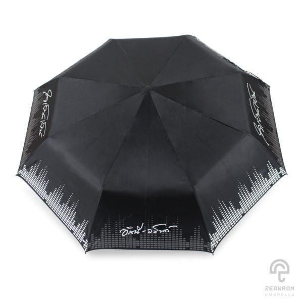 ร่มพรีเมี่ยม สีดำ แบบพับ 3 ตอน โลโก้ อัสนี-วสันท์