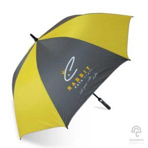 ร่มพรีเมี่ยมกอล์ฟ สีเหลือง-เทา 30 นิ้ว โลโก้ Rabbit Auto Craft